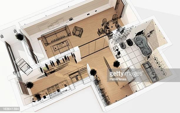 REPRÉSENTATION FILAIRE 3D haut vue D'appartement. Organisation.