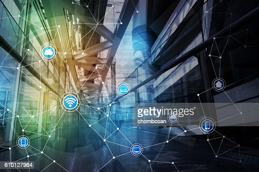 wireless communication network abstract image visual : Stock Photo