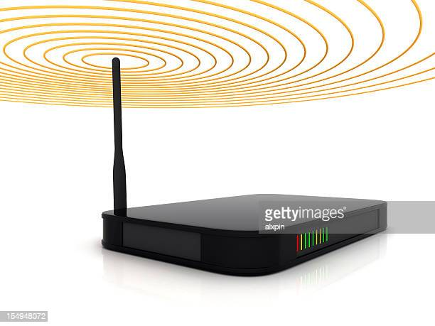 A wireless router showing signal beams