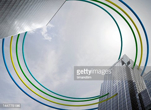 wires connecting buildings : Stock Photo