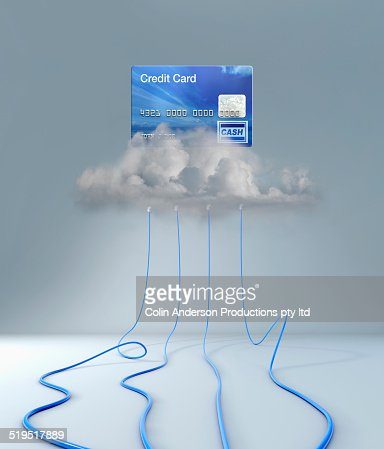 Wires connecting to clouds under credit card