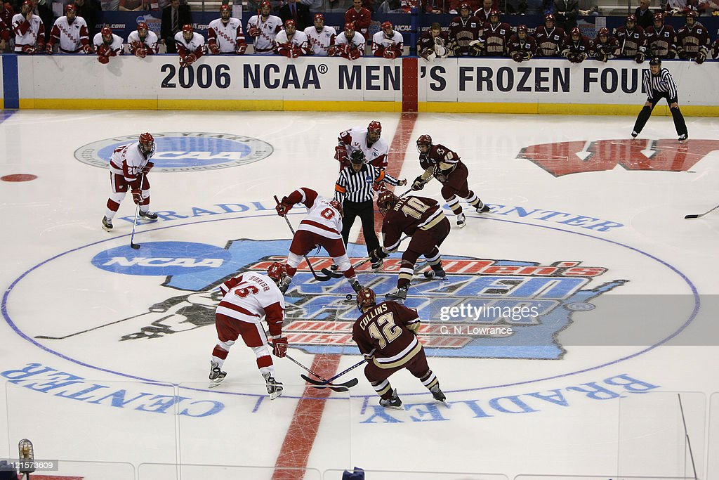 Wisconsin and Boston College face off in the NCAA Mens Hockey National Championship at the Bradley Center in Milwaukee Wisconsin on April 8 2006...