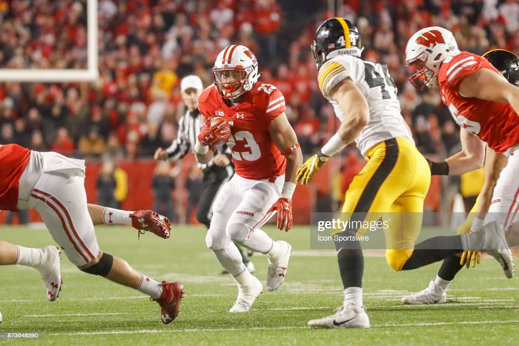 Wisconsin Badger running back Jonathan Taylor (23) can't find a hole but not the end zone on this run during a Big Ten football game between the University of Wisconsin Badgers and the the University of Iowa Hawkeyes on November 11, 2017, at Camp Randall Stadium in Madison, WI.