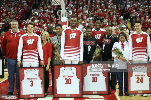 Wisconsin Badger seniors and their parents prior to a basketball game between the Wisconsin Badgers and Minnesota Gophers on March 5 2017 at Kohl...