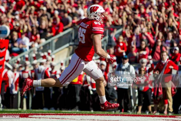 Wisconsin Badger tight end Zander Neuville scores after catching a pass durning an college football game between the Maryland Terrapins and the...