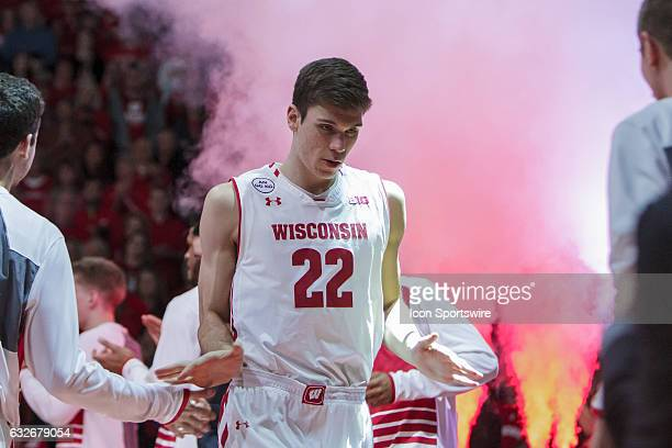 Wisconsin Badgers forward Ethan Happ gets introduced prior to a College Basketball game between the Penn State Nittany Lions and the Wisconsin...