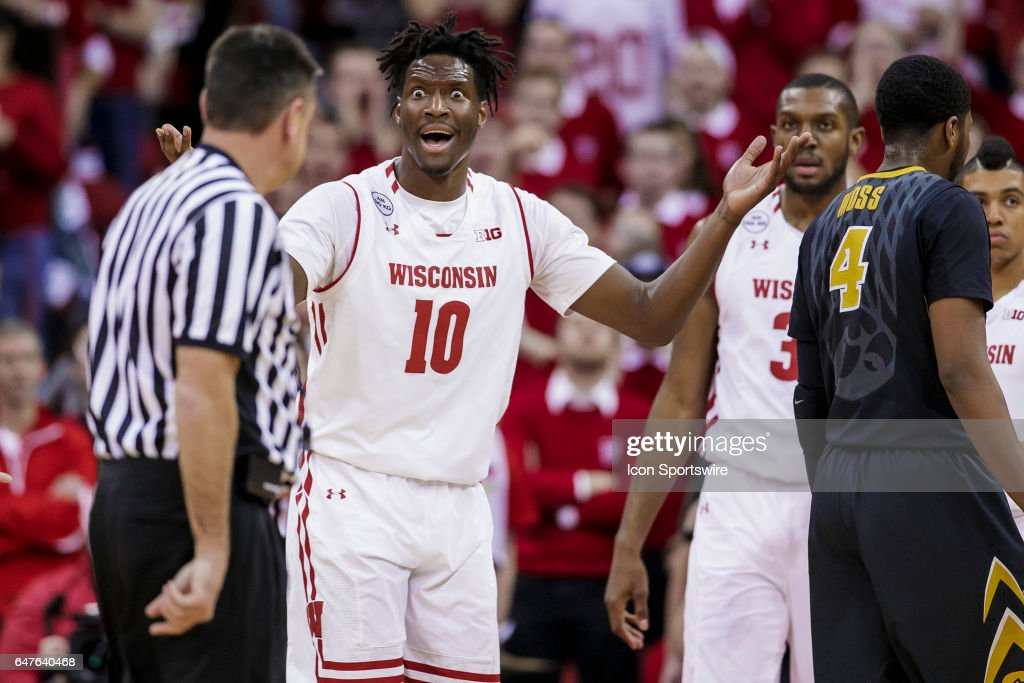 Wisconsin Badgers forward Nigel Hayes (10) reacts after not getting the and-1 call during an college basketball game between the Iowa Hawkeyes and the Wisconsin Badgers at the Kohl Center in Madison, WI on March 02, 2017. The Iowa Hawkeyes defeat the Iowa Hawkeyes in a thriller 59-57.