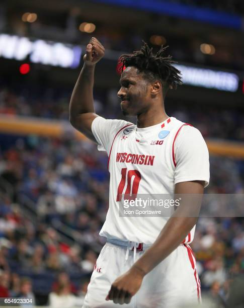 Wisconsin Badgers forward Nigel Hayes reacts during the NCAA Division 1 Men's Basketball Championship game between Wisconsin Badgers and Virginia...