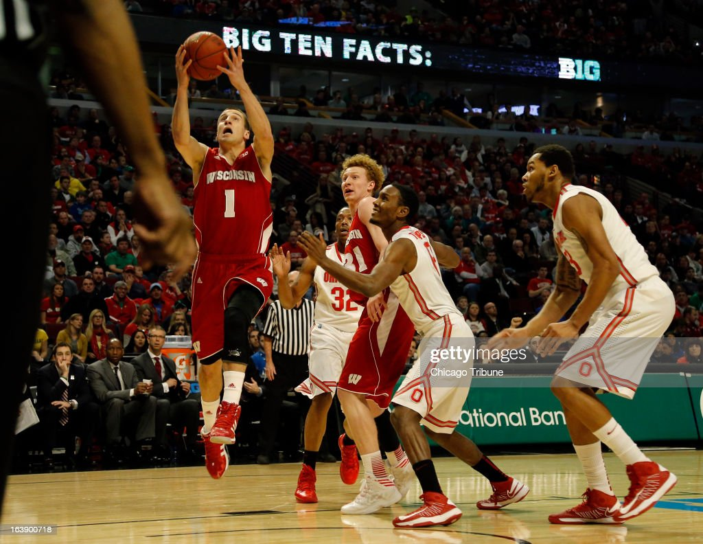 Wisconsin Badgers guard Ben Brust (1) makes a lay up against Ohio State during the first half in the finals of the men's Big Ten basketball tournament at the United Center in Chicago, Illinois, Sunday, March 17, 2013. He Ohio State Buckeyes defeated the Wisconsin Badgers, 50-43.