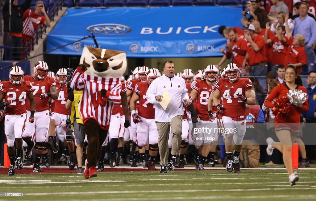 Wisconsin Badgers head coach Bret Bielema leads his team onto the field prior to the start of the Big Ten Championship game against the Nebraska Cornhuskers at Lucas Oil Stadium on December 1, 2012 in Indianapolis, Indiana.
