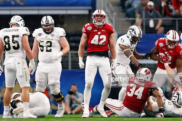 Wisconsin Badgers linebacker TJ Watt celebrates his tackle during the Goodyear Cotton Bowl Classic between Western Michigan Broncos and Wisconsin...
