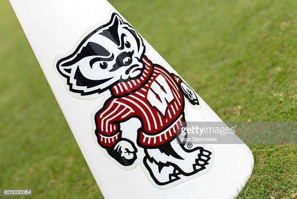 Wisconsin Badgers logo is displayed on a megaphone during the Big Ten Conference game between the Wisconsin Badgers and the Purdue Boilermakers on...