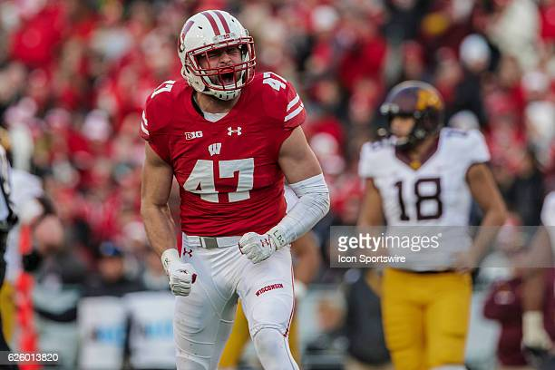 Wisconsin Badgers outside linebacker Vince Biegel celebrates a sack durning an NCAA Football game between the 6th ranked Wisconsin Badgers and the...