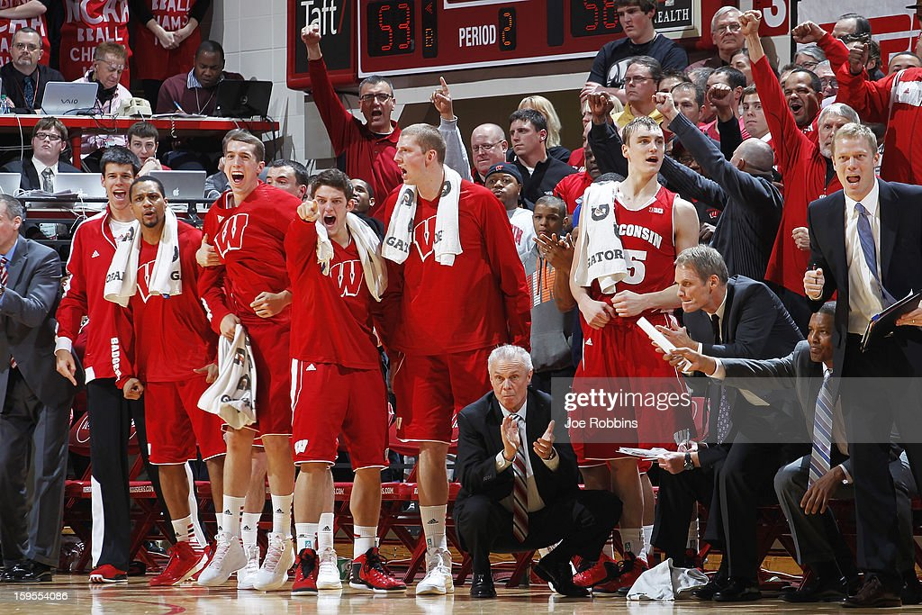 Wisconsin Badgers players celebrate against the Indiana Hoosiers during the game at Assembly Hall on January 15, 2013 in Bloomington, Indiana. Wisconsin defeated Indiana 64-59.