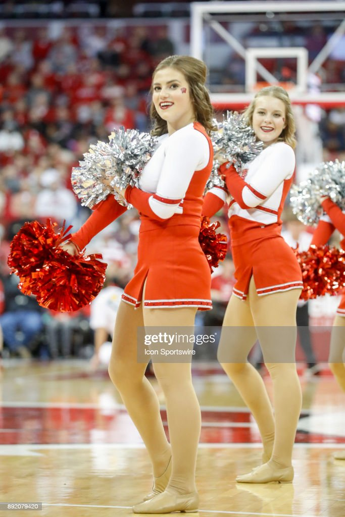 Wisconsin cheerleaders during a college basketball game between the University of Wisconsin Badgers and the Western Kentucky University Hilltoppers on December 13, 2017 at the Kohl Center in Madison, WI.