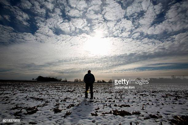 Wisconsin farmer in winter.