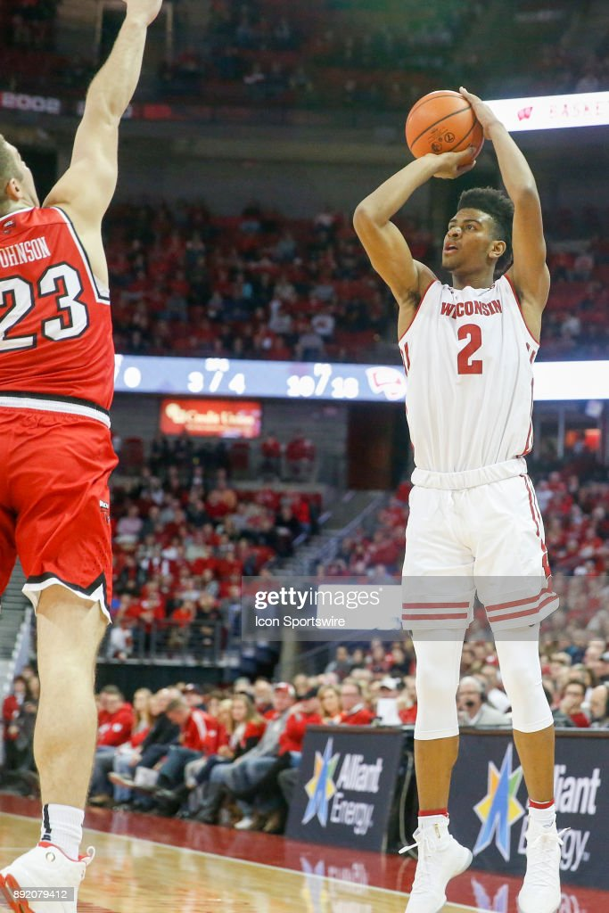 Wisconsin forward Aleem Ford (2) attempts a three point shot during a college basketball game between the University of Wisconsin Badgers and the Western Kentucky University Hilltoppers on December 13, 2017 at the Kohl Center in Madison, WI.