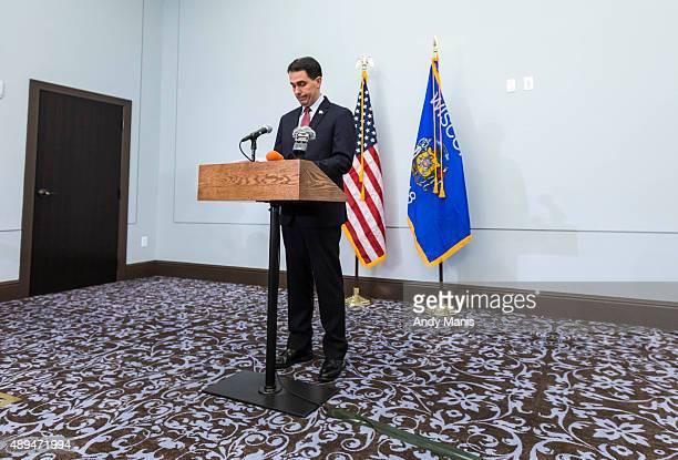 Wisconsin Gov Scott Walker speaks at a news conference September 21 2015 in Madison Wisconsin Walker a onetime Iowa frontrunner in the Republican...