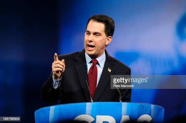 Wisconsin Gov Scott Walker speaks at the 2013 Conservative Political Action Conference March 16 2013 in National Harbor Maryland The American...