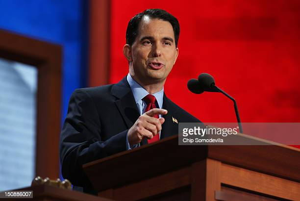 Wisconsin Gov Scott Walker speaks during the Republican National Convention at the Tampa Bay Times Forum on August 28 2012 in Tampa Florida Today is...