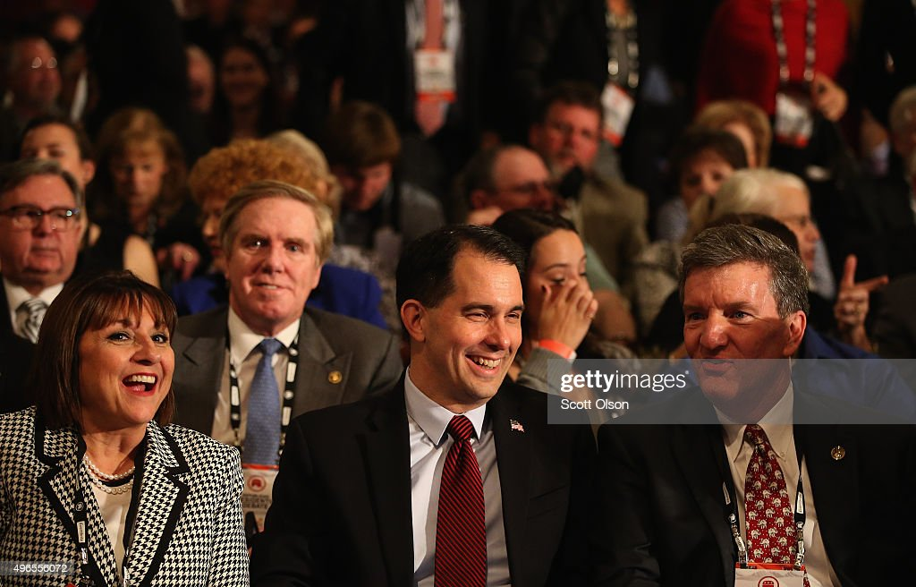 Wisconsin Gov. <a gi-track='captionPersonalityLinkClicked' href=/galleries/search?phrase=Scott+Walker+-+Pol%C3%ADtico&family=editorial&specificpeople=7511934 ng-click='$event.stopPropagation()'>Scott Walker</a> waits for start of the 'undercard' Republican Presidential Debate between GOP candidates Santorum, Christie, Huckabee, and Jindal sponsored by Fox Business and the Wall Street Journal at the Milwaukee Theatre November 10, 2015 in Milwaukee, Wisconsin. The fourth Republican debate is held in two parts, one main debate for the top eight candidates, and another for four other candidates lower in the current polls.