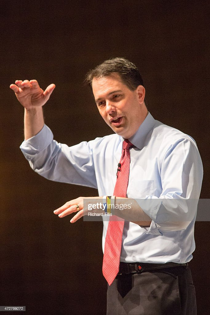 Wisconsin Governor and exploratory Republican presidential candidate <a gi-track='captionPersonalityLinkClicked' href=/galleries/search?phrase=Scott+Walker+-+Politician&family=editorial&specificpeople=7511934 ng-click='$event.stopPropagation()'>Scott Walker</a> speaks at the Freedom Summit on May 9, 2015 in Greenville, South Carolina. Walker joined eleven other potential candidates in addressing the event hosted by conservative group Citizens United.