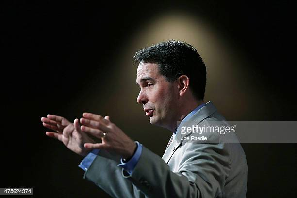 Wisconsin Governor Scott Walker and possible Republican presidential candidate speaks during the Rick Scott's Economic Growth Summit held at the...