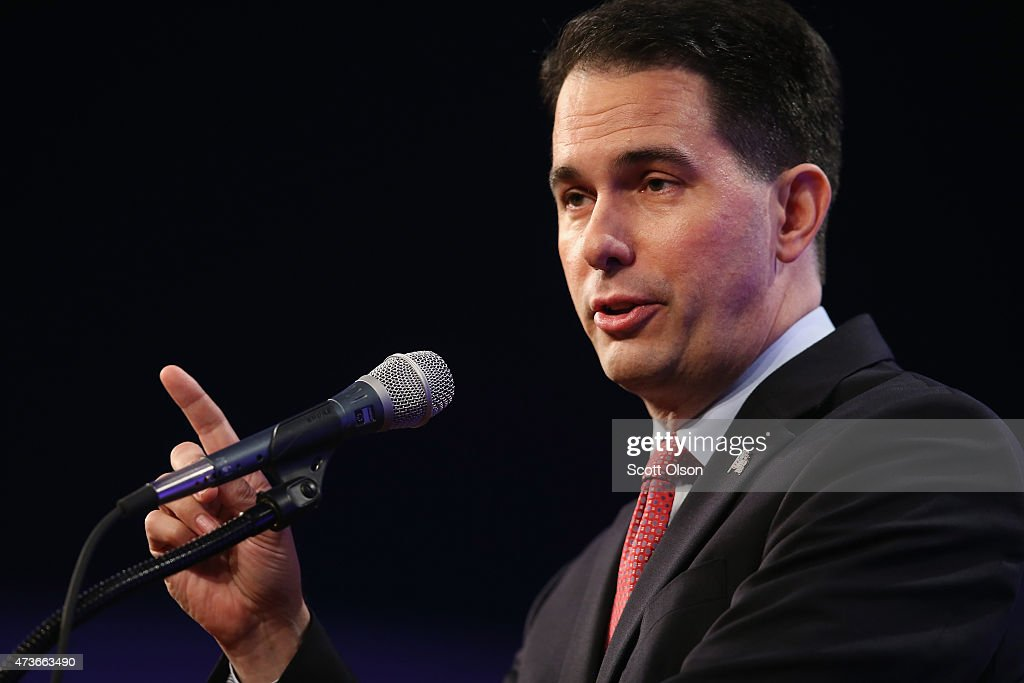 Wisconsin Governor <a gi-track='captionPersonalityLinkClicked' href=/galleries/search?phrase=Scott+Walker+-+Politician&family=editorial&specificpeople=7511934 ng-click='$event.stopPropagation()'>Scott Walker</a> speaks to guests gathered for the Republican Party of Iowa's Lincoln Dinner at the Iowa Events Center on May 16, 2015 in Des Moines, Iowa. The event sponsored by the Republican Party of Iowa gave several Republican presidential hopefuls an opportunity to strengthen their support among Iowa Republicans ahead of the 2016 Iowa caucus.