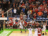 Wisconsin guard Bronson Koenig takes the gamewinning threepoint shot with less than a second remaining on Sunday March 20 at the Scottrade Center in...