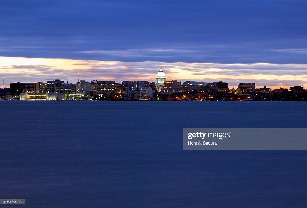 USA, Wisconsin, Madison, City skyline at sunset