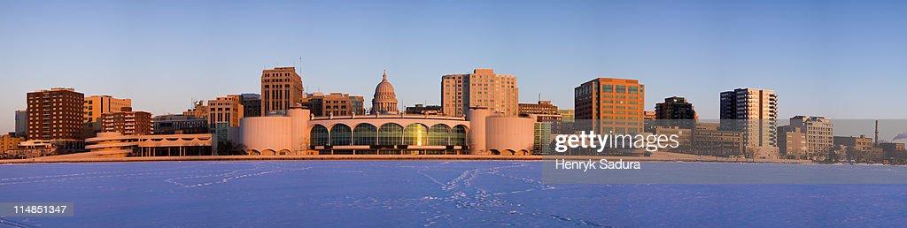 USA, Wisconsin, Madison skyline at sunrise