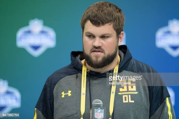 Wisconsin offensive lineman Ryan Ramczyk answers questions from the media during the NFL Scouting Combine on March 2 2017 at Lucas Oil Stadium in...