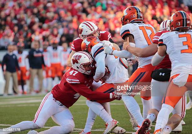 Wisconsin outside linebacker Vince Biegel makes a tackle during game action Wisconsin beat Illinois by a final score of 483 at Camp Randall Stadium...