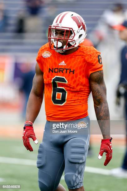 Wisconsin Runningback Cory Clement of the North Team during the 2017 Resse's Senior Bowl at LaddPeebles Stadium on January 28 2017 in Mobile Alabama...