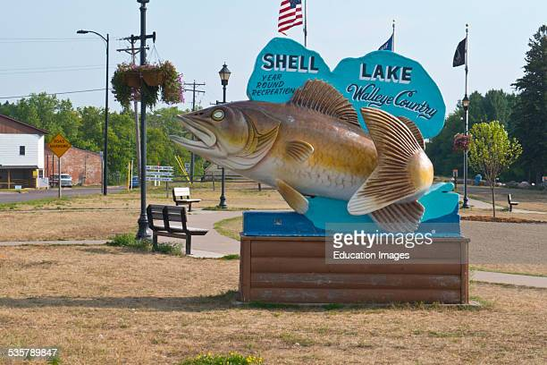 Wisconsin Shell Lake Two Tailed Walleye Statue Roadside Attraction