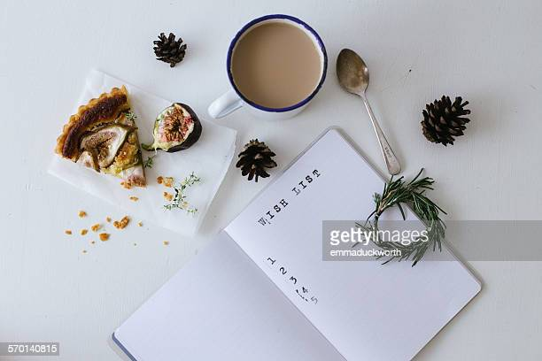 Wish list with tea and slice of fig and almond tart