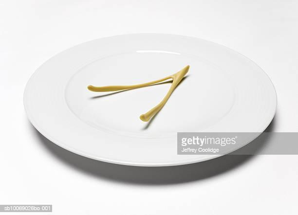 Wishbone on white plate, studio shot