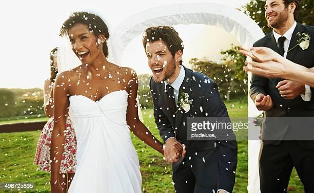 Faire un voeu de la mariée et le marié bonne chance