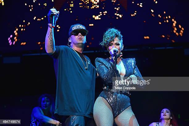 Wisin and Jennifer Lopez perform onstage during the Mega 979 Megaton Concert at Madison Square Garden on October 28 2015 in New York City