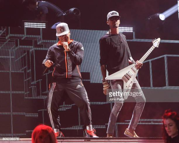 Wisin and Motiff rehearses on stage during Univision's 'Premios Juventud' 2017 Celebrates The Hottest Musical Artists And Young Latinos ChangeMakers...