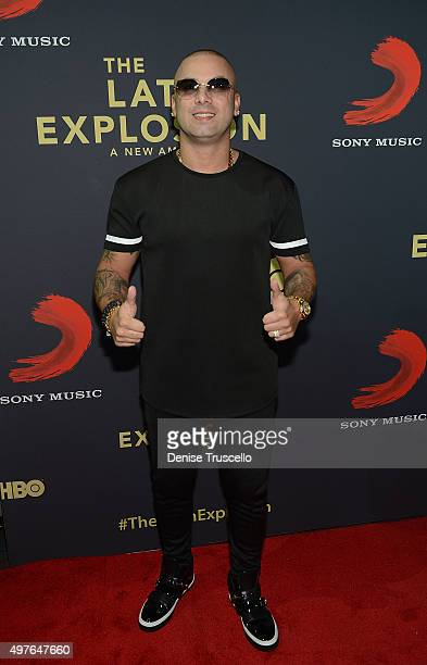 Wisin arrives at the 'The Latin Explosion A New America' Las Vegas Screening at the Cosmopolitan Hotel on November 17 2015 in Las Vegas Nevada