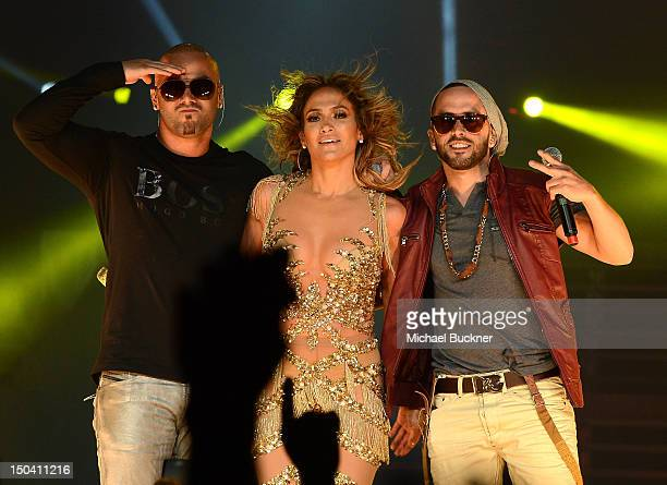 Wisin Jennifer Lopez and Yandel perform on stage at Staples Center on August 16 2012 in Los Angeles California
