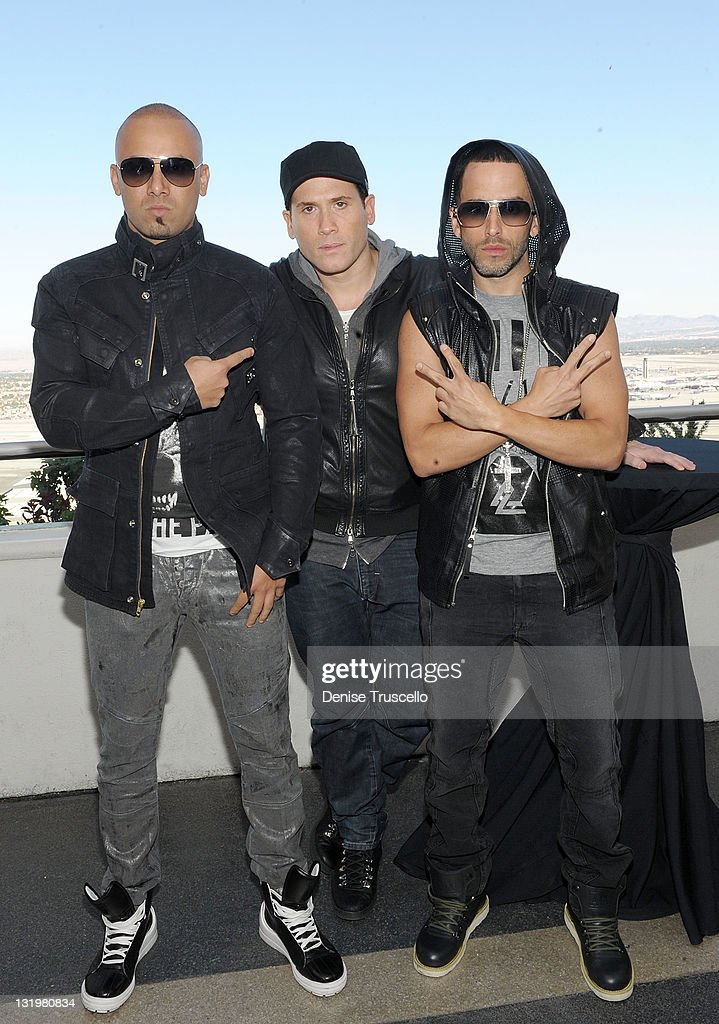 Wisin, Marc Ecko and Yandel attend a press conference at the Foundation Room in Mandalay Bay on November 9, 2011 in Las Vegas, Nevada.