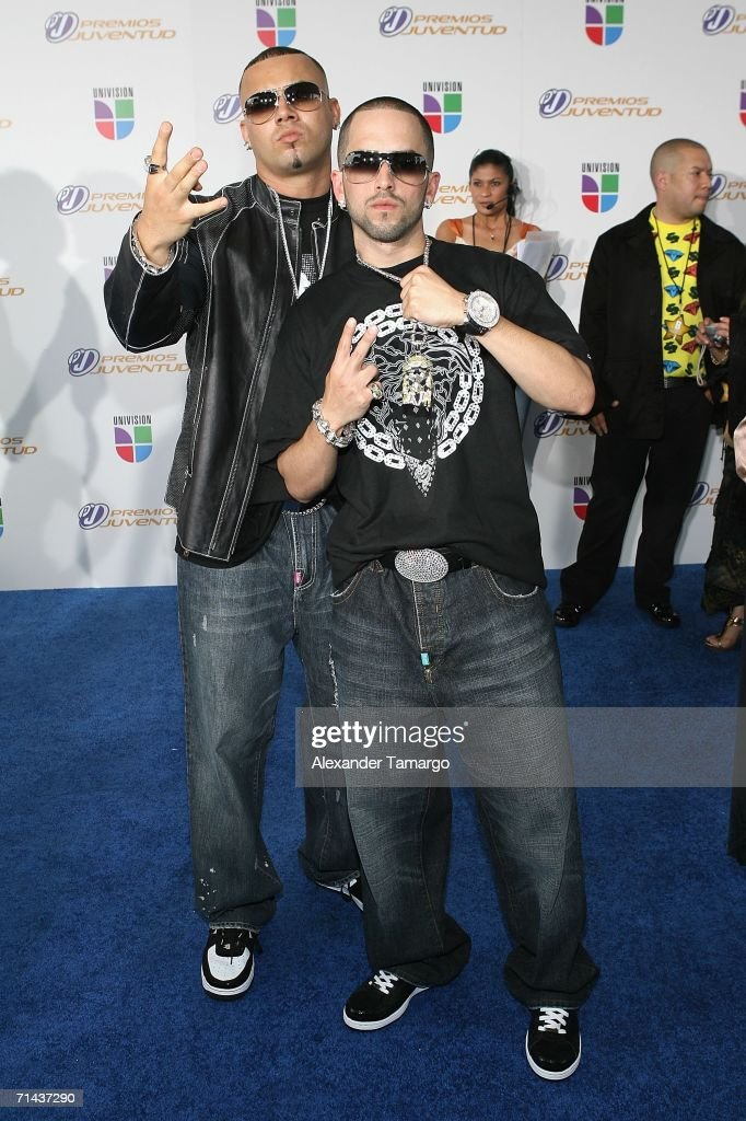 Wisin y Yandel arrives at the 3rd Annual Premios Juventud Awards at the University of Miami BankUnited Center July 13 2006 in Miami Florida