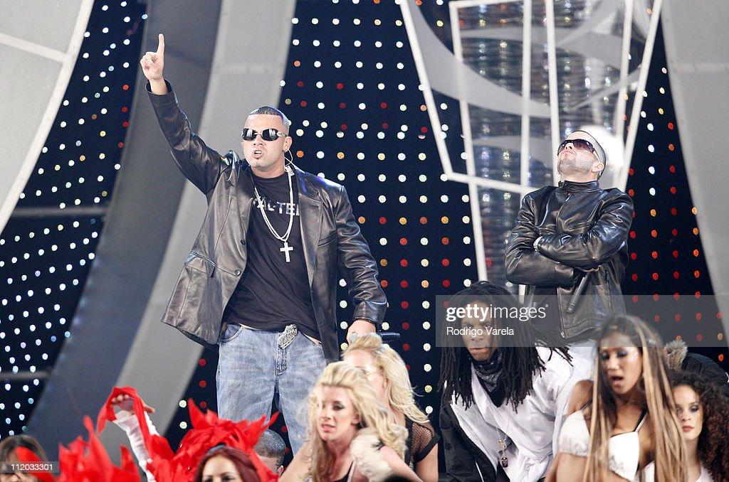 Wisin y Yandel during 2006 Premio Lo Nuestro Awards Show at American Airlines Arena in Miami Florida United States