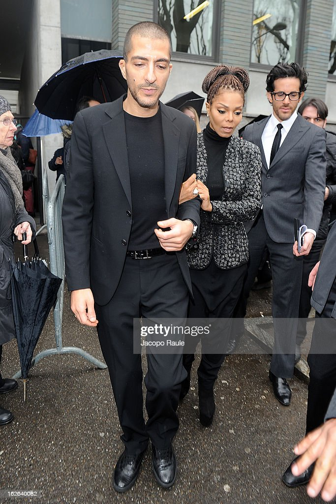 Wissam al Mana and Janet Jackson arrive at the Giorgio Armani fashion show as part of Milan Fashion Week Womenswear Fall/Winter 2013/14 on February 25, 2014 in Milan, Italy.