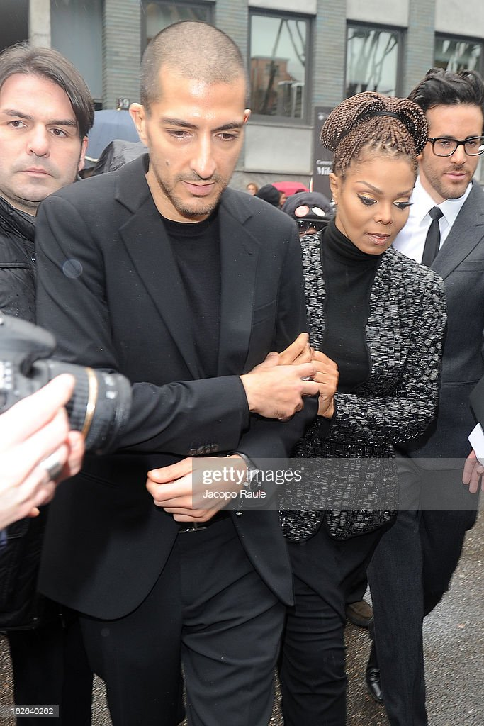 Wissam al Mana and <a gi-track='captionPersonalityLinkClicked' href=/galleries/search?phrase=Janet+Jackson&family=editorial&specificpeople=156414 ng-click='$event.stopPropagation()'>Janet Jackson</a> arrive at the Giorgio Armani fashion show as part of Milan Fashion Week Womenswear Fall/Winter 2013/14 on February 25, 2014 in Milan, Italy.