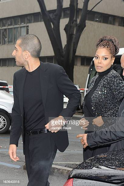 Wissam al Mana and Janet Jackson arrive at the Giorgio Armani fashion show as part of Milan Fashion Week Womenswear Fall/Winter 2013/14 on February...