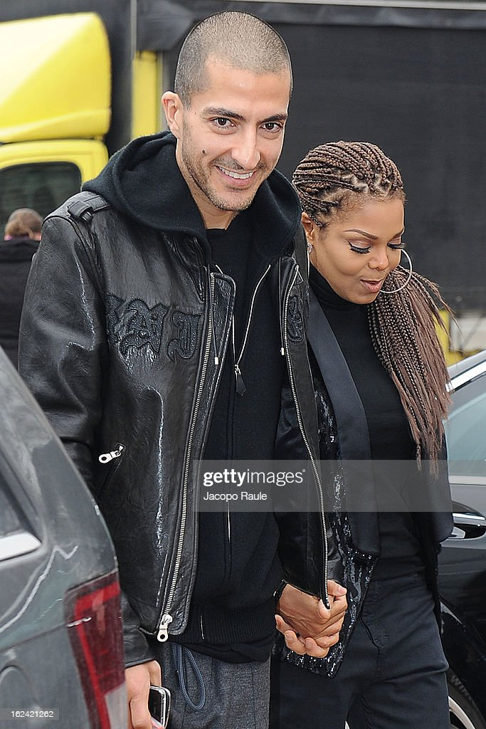 Wissam al Mana and <a gi-track='captionPersonalityLinkClicked' href=/galleries/search?phrase=Janet+Jackson&family=editorial&specificpeople=156414 ng-click='$event.stopPropagation()'>Janet Jackson</a> arrive at the Roberto Cavalli fashion show as part of Milan Fashion Week Womenswear Fall/Winter 2013/14 on February 23, 2013 in Milan, Italy.