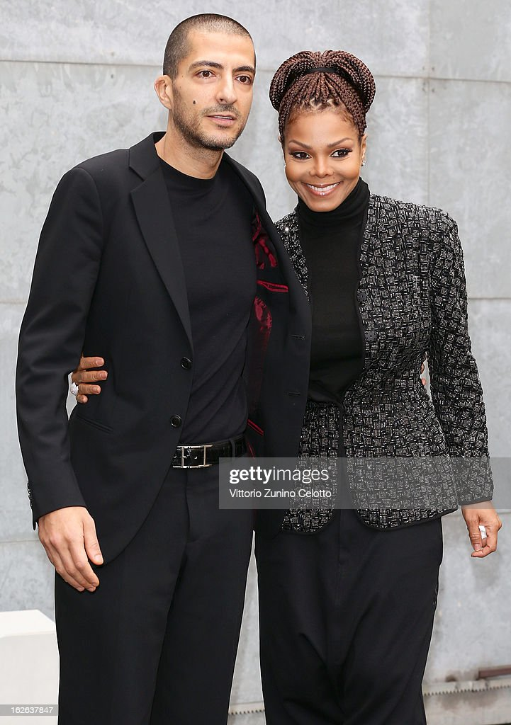 Wissam al Mana and <a gi-track='captionPersonalityLinkClicked' href=/galleries/search?phrase=Janet+Jackson&family=editorial&specificpeople=156414 ng-click='$event.stopPropagation()'>Janet Jackson</a> attend the Giorgio Armani fashion show during Milan Fashion Week Womenswear Fall/Winter 2013/14 on February 25, 2013 in Milan, Italy.